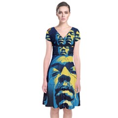 Gabz Jimi Hendrix Voodoo Child Poster Release From Dark Hall Mansion Short Sleeve Front Wrap Dress