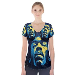 Gabz Jimi Hendrix Voodoo Child Poster Release From Dark Hall Mansion Short Sleeve Front Detail Top