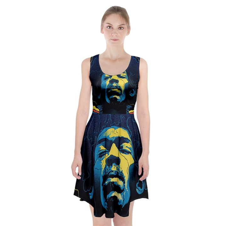 Gabz Jimi Hendrix Voodoo Child Poster Release From Dark Hall Mansion Racerback Midi Dress