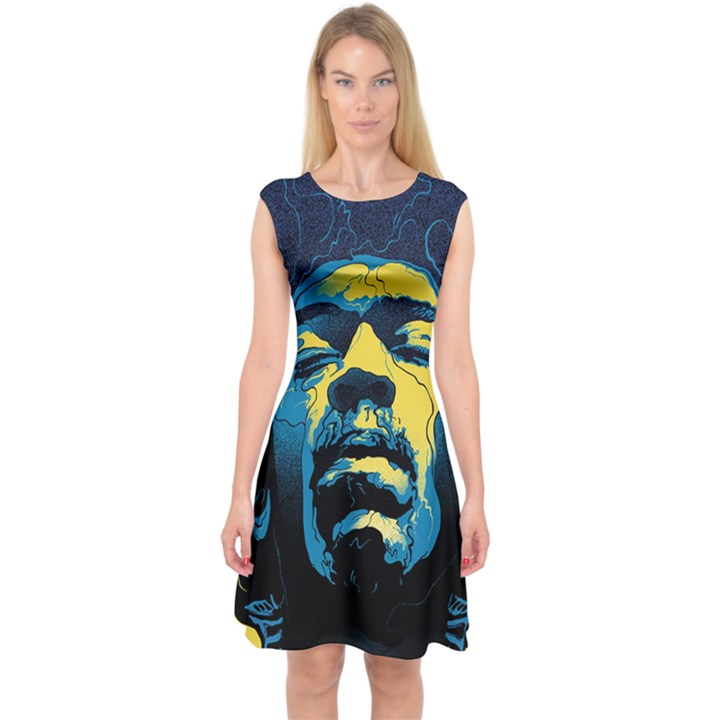 Gabz Jimi Hendrix Voodoo Child Poster Release From Dark Hall Mansion Capsleeve Midi Dress