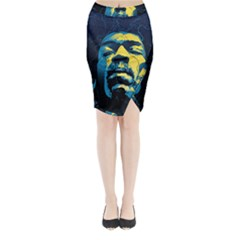 Gabz Jimi Hendrix Voodoo Child Poster Release From Dark Hall Mansion Midi Wrap Pencil Skirt