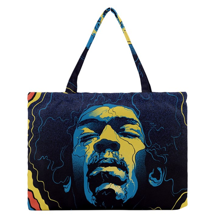 Gabz Jimi Hendrix Voodoo Child Poster Release From Dark Hall Mansion Medium Zipper Tote Bag