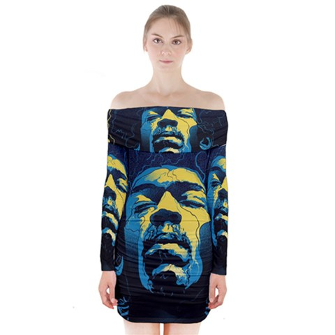 Gabz Jimi Hendrix Voodoo Child Poster Release From Dark Hall Mansion Long Sleeve Off Shoulder Dress