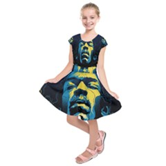 Gabz Jimi Hendrix Voodoo Child Poster Release From Dark Hall Mansion Kids  Short Sleeve Dress