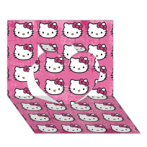 Hello Kitty Patterns Heart 3D Greeting Card (7x5)