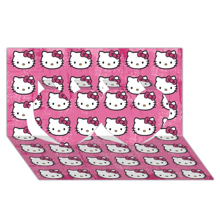 Hello Kitty Patterns Twin Hearts 3D Greeting Card (8x4)