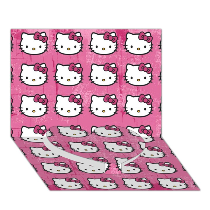 Hello Kitty Patterns Heart Bottom 3D Greeting Card (7x5)
