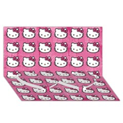 Hello Kitty Patterns Twin Heart Bottom 3D Greeting Card (8x4)