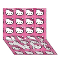 Hello Kitty Patterns LOVE Bottom 3D Greeting Card (7x5)