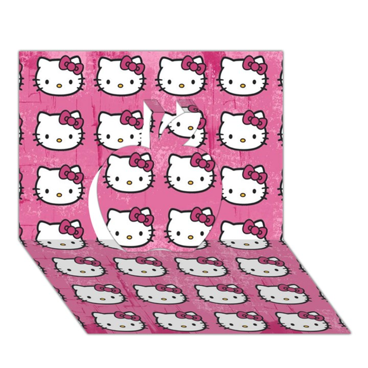 Hello Kitty Patterns Apple 3D Greeting Card (7x5)