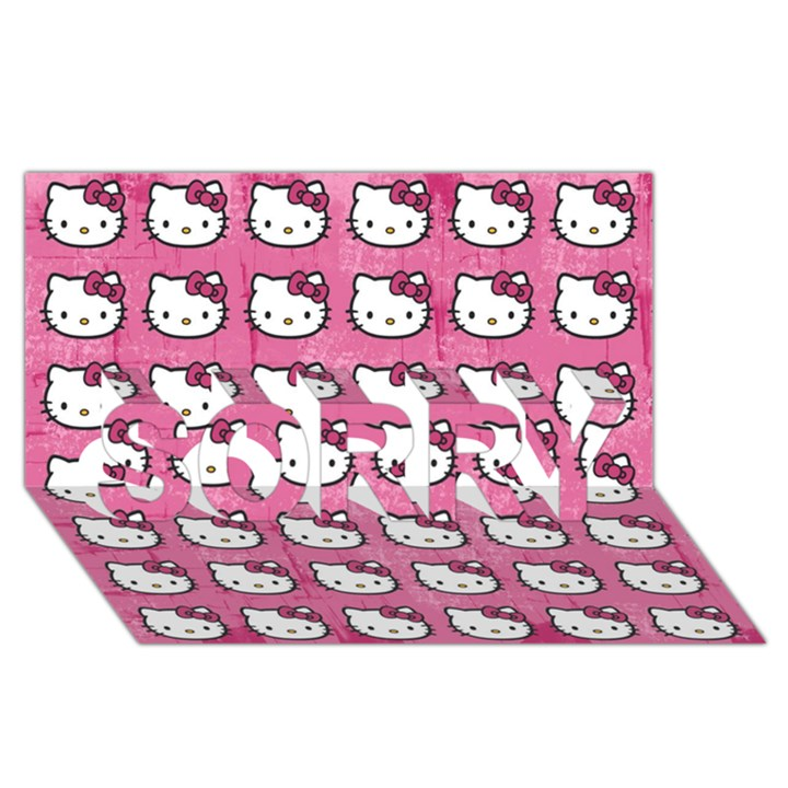 Hello Kitty Patterns SORRY 3D Greeting Card (8x4)