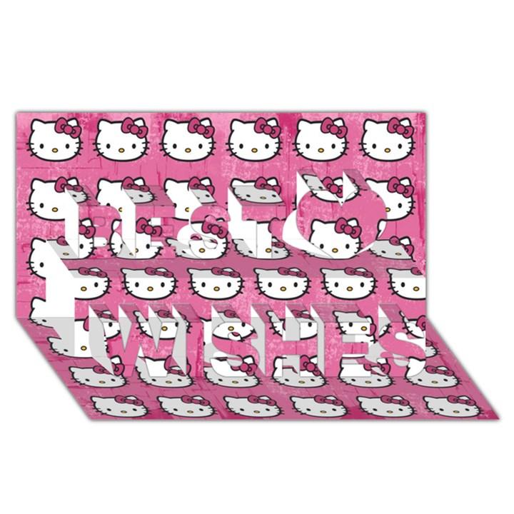 Hello Kitty Patterns Best Wish 3D Greeting Card (8x4)