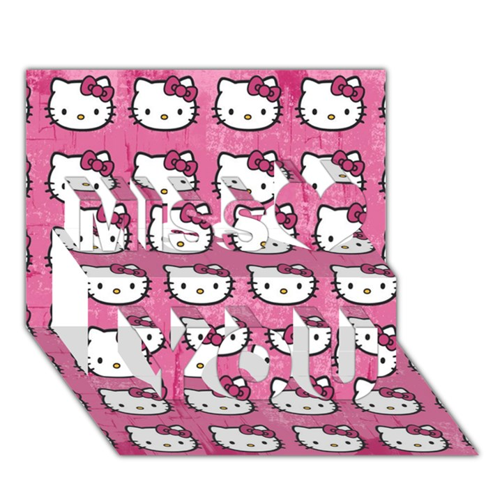 Hello Kitty Patterns Miss You 3D Greeting Card (7x5)