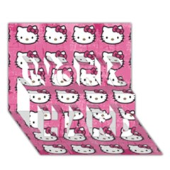 Hello Kitty Patterns WORK HARD 3D Greeting Card (7x5)