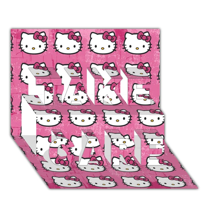 Hello Kitty Patterns TAKE CARE 3D Greeting Card (7x5)