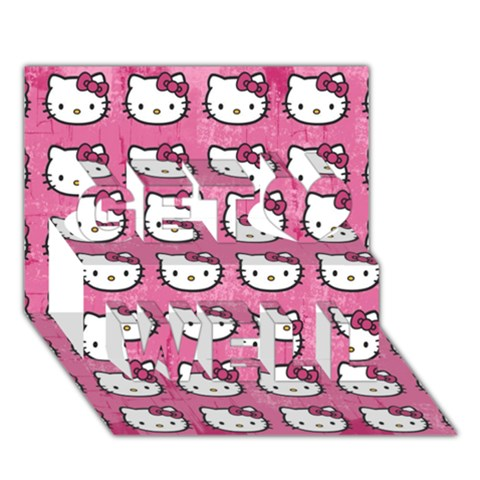 Hello Kitty Patterns Get Well 3D Greeting Card (7x5)