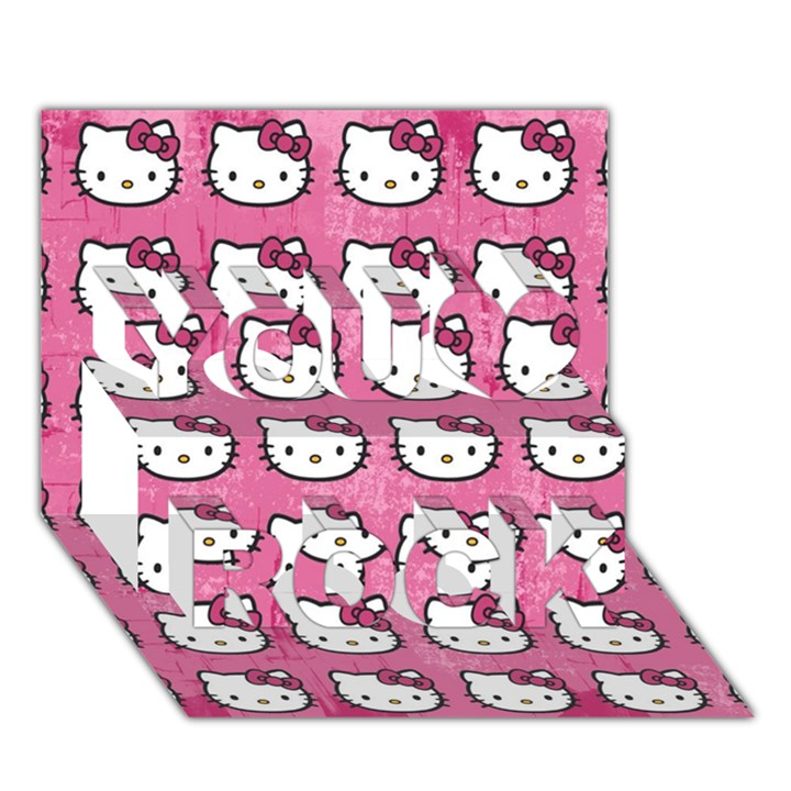 Hello Kitty Patterns You Rock 3D Greeting Card (7x5)
