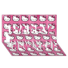 Hello Kitty Patterns Happy New Year 3D Greeting Card (8x4)