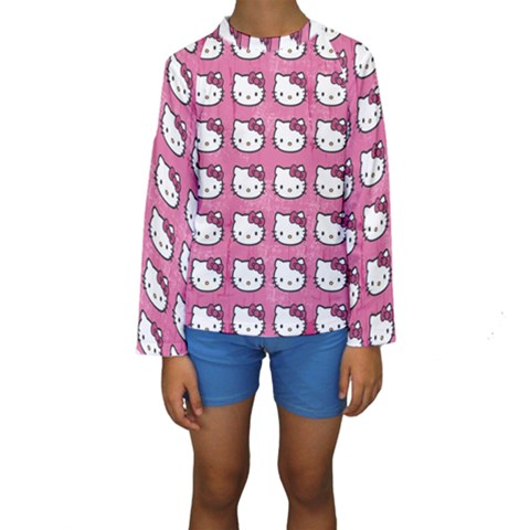 Hello Kitty Patterns Kids  Long Sleeve Swimwear