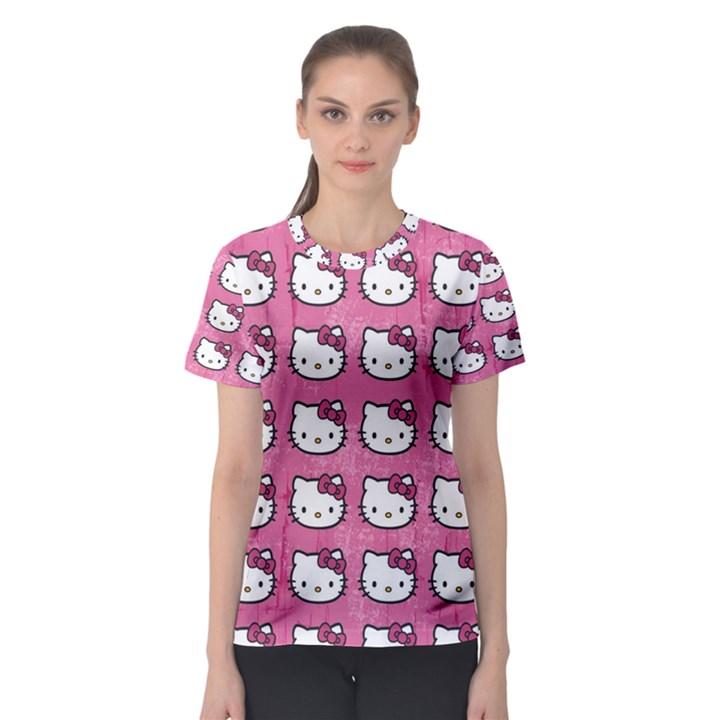 Hello Kitty Patterns Women s Sport Mesh Tee