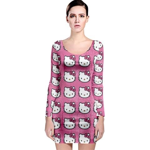 Hello Kitty Patterns Long Sleeve Bodycon Dress