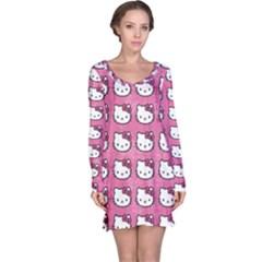 Hello Kitty Patterns Long Sleeve Nightdress