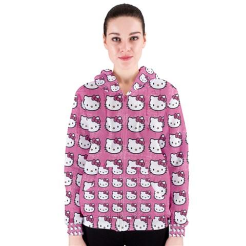 Hello Kitty Patterns Women s Zipper Hoodie