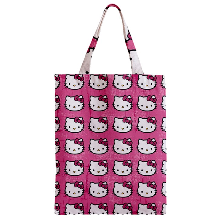 Hello Kitty Patterns Zipper Classic Tote Bag