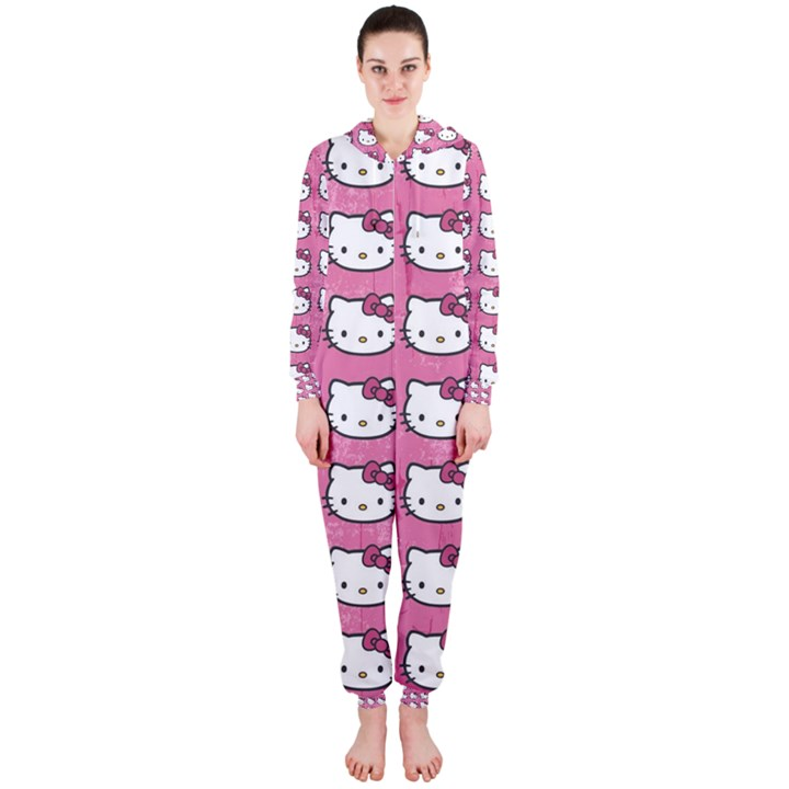 Hello Kitty Patterns Hooded Jumpsuit (Ladies)