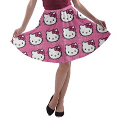 Hello Kitty Patterns A-line Skater Skirt