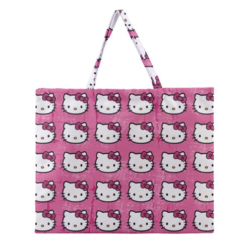 Hello Kitty Patterns Zipper Large Tote Bag