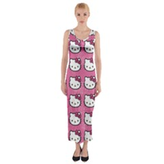 Hello Kitty Patterns Fitted Maxi Dress