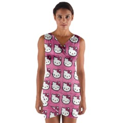 Hello Kitty Patterns Wrap Front Bodycon Dress