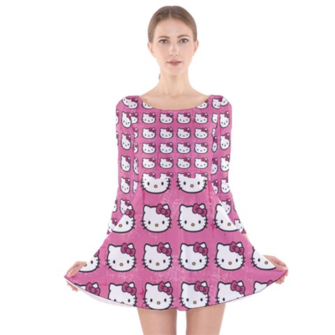 Hello Kitty Patterns Long Sleeve Velvet Skater Dress