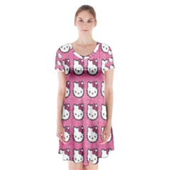 Hello Kitty Patterns Short Sleeve V-neck Flare Dress
