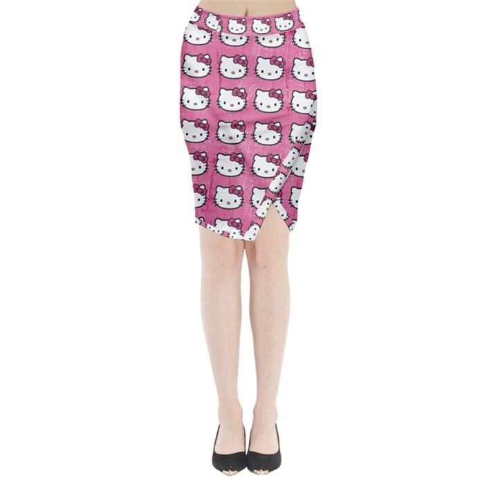 Hello Kitty Patterns Midi Wrap Pencil Skirt