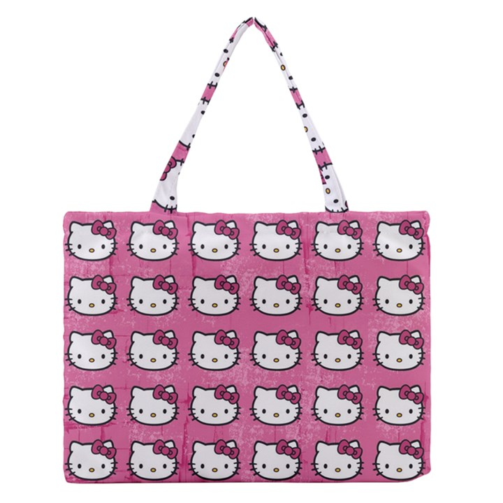 Hello Kitty Patterns Medium Zipper Tote Bag