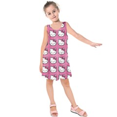 Hello Kitty Patterns Kids  Sleeveless Dress