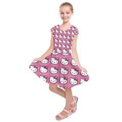 Hello Kitty Patterns Kids  Short Sleeve Dress