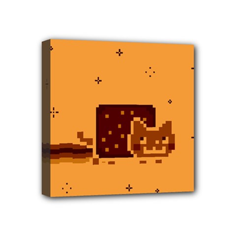 Nyan Cat Vintage Mini Canvas 4  X 4