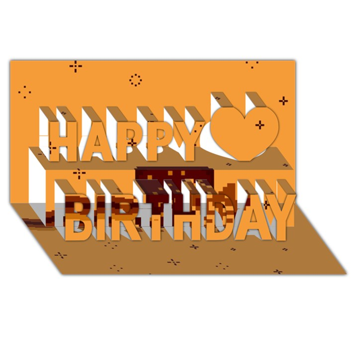Nyan Cat Vintage Happy Birthday 3D Greeting Card (8x4)