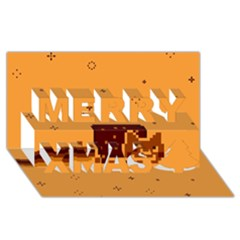 Nyan Cat Vintage Merry Xmas 3D Greeting Card (8x4)
