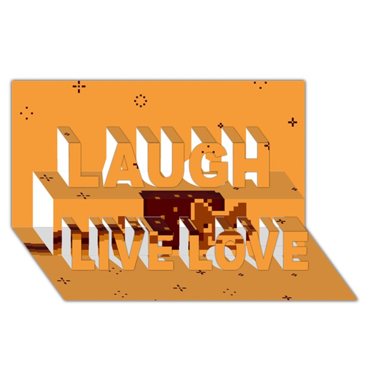 Nyan Cat Vintage Laugh Live Love 3D Greeting Card (8x4)