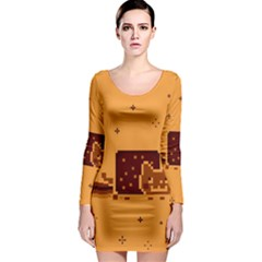 Nyan Cat Vintage Long Sleeve Bodycon Dress