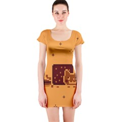 Nyan Cat Vintage Short Sleeve Bodycon Dress