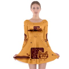 Nyan Cat Vintage Long Sleeve Skater Dress