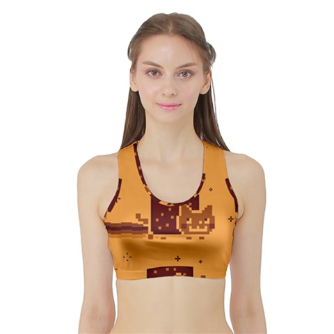 Nyan Cat Vintage Sports Bra with Border