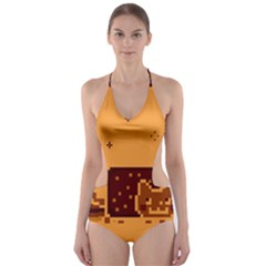 Nyan Cat Vintage Cut-Out One Piece Swimsuit