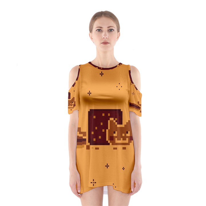 Nyan Cat Vintage Cutout Shoulder Dress