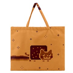 Nyan Cat Vintage Zipper Large Tote Bag